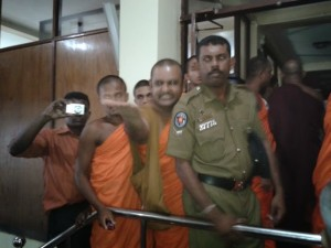 Monks storming peaceful gathering