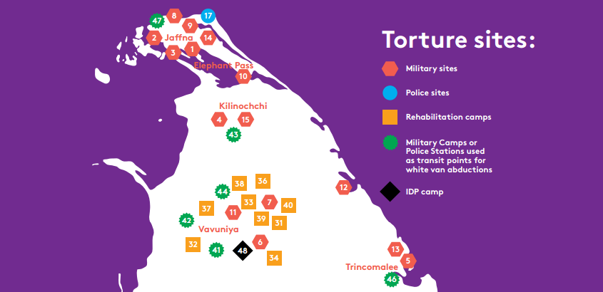 Map of 41 Known Torture Sites in North and East Sri Lanka 2009-2015