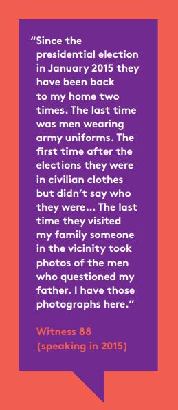 Survivor testimony concerning harassment in Post-Election Sri Lanka