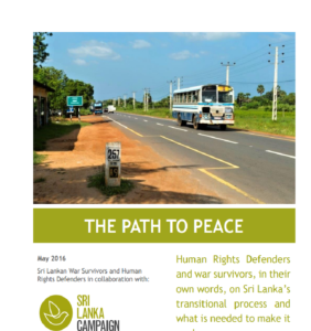 Sri Lanka's Path to Peace, War Survivors' Demands, Sri Lanka Campaign, April 2016