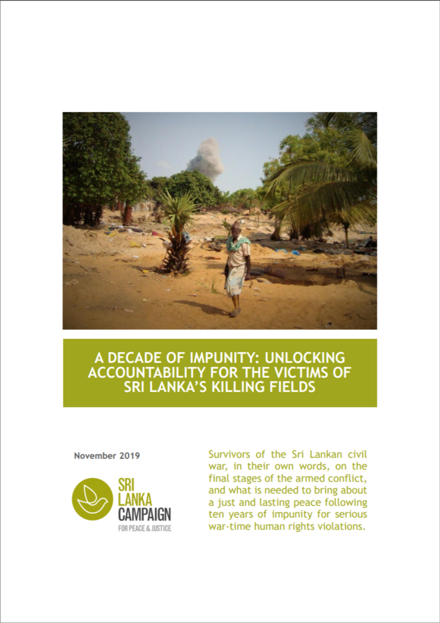 A Decade of Impunity: Unlocking Accountability for the Victims of Sri Lanka's Killing Fields, November 2019