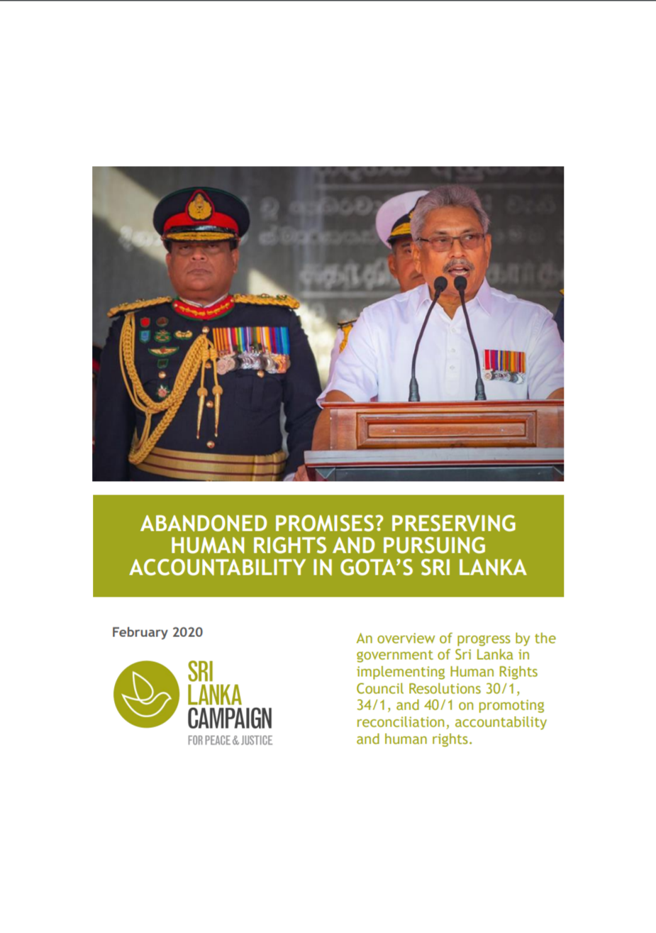 Abandoned Promises? Preserving Human Rights and Pursuing Accountability in Gota's Sri Lanka, February 2020
