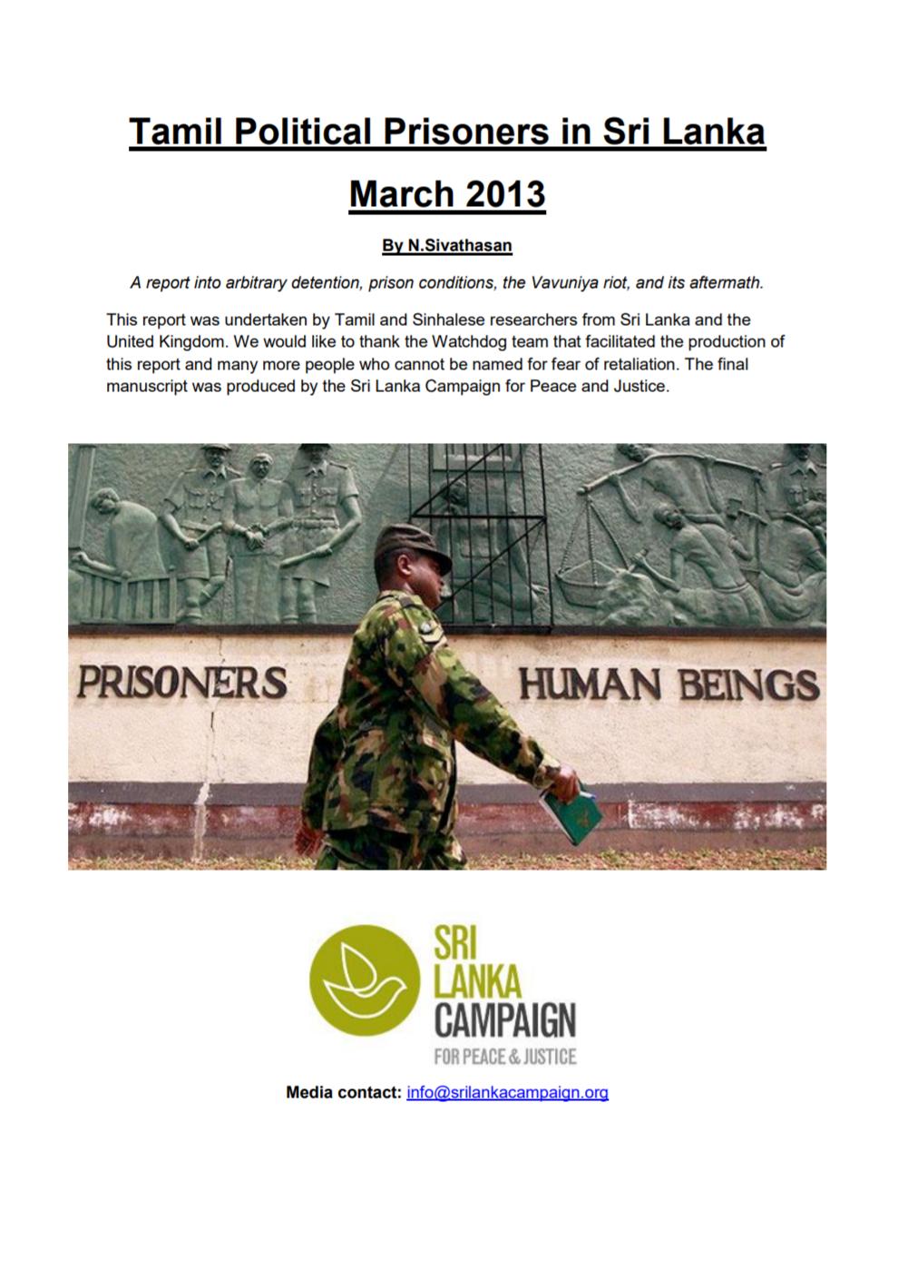 Tamil Political Prisoners in Sri Lanka, Sri Lanka Campaign, 2013