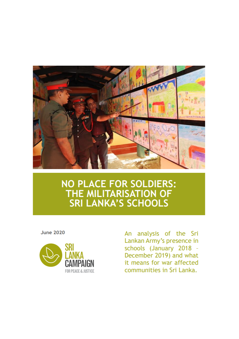 No Place for Soldiers: the Militarisation of Sri Lanka's Schools, June 2020