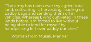 A woman from Mannar describes how the army have taken over her agricultural land