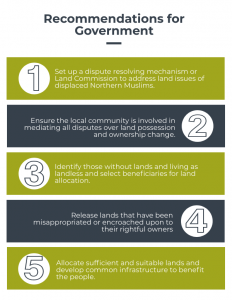 Recommendations for addressing problems faced by northern Muslims